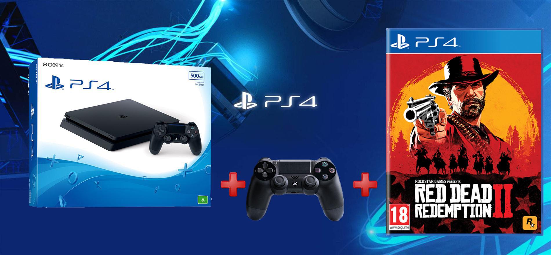 להפליא קונסולת Playstation 4 Slim 1TB+ שלט נוסף + Red Dead Redemption II! IW-75