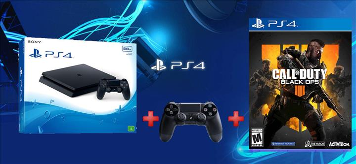 קונסולת Playstation 4 Slim 1TB + שלט נוסף + COD Black Ops 4