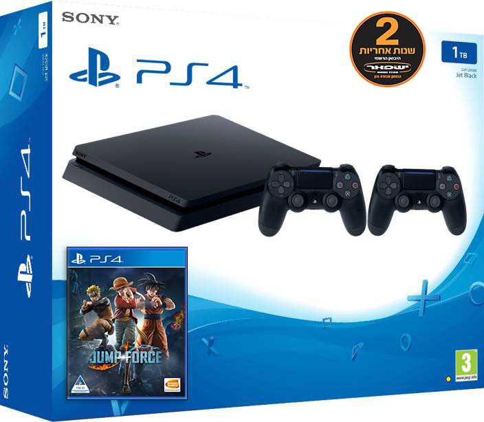 קונסולת Playstation 4 Slim 1TB + שלט נוסף + Jump Force יבואן רשמי