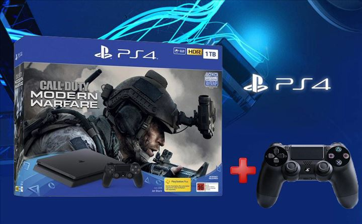 קונסולת 1tb Playstation 4 + שלט נוסף + Call Of Duty MODERN WARFARE