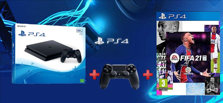 Playstation 4 Slim 500GB + Dualshock + Fifa 21