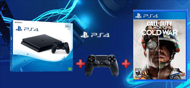 קונסולת Playstation 4 Slim 500GB + שלט נוסף + Call of Duty: Cold War